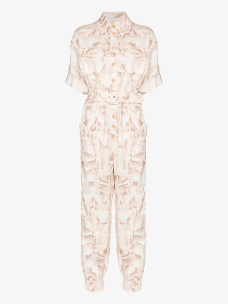 Zimmermann Justi printed cotton boiler jumpsuit in neutrals