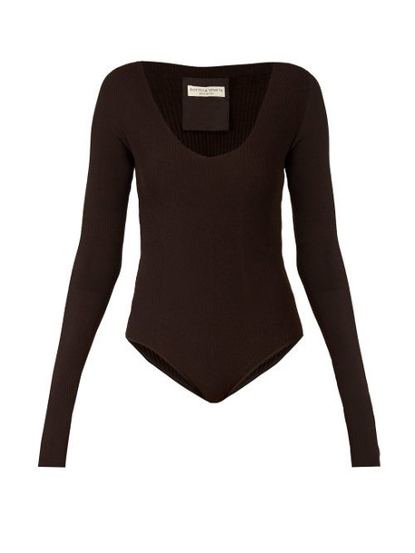 Bottega Veneta - Long Sleeved Ribbed Knit Jersey Bodysuit - Womens - Dark Brown