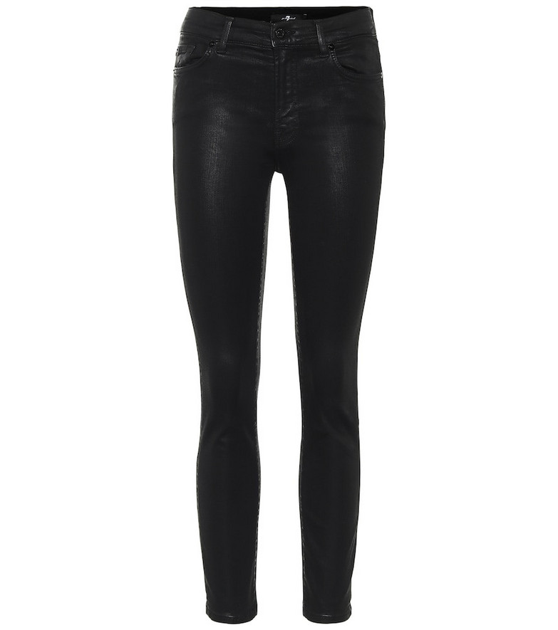 7 For All Mankind Roxanne mid-rise coated skinny jeans in black