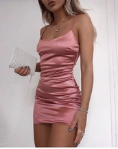 dress,pink,dusty pink,satin dress,cute dress,silk dress,pink dress,silk,bodycon dress
