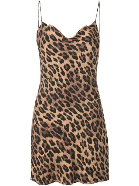 Alice+Olivia Harmony leopard slip dress in brown