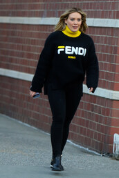 sweater,fendi,hilary duff,casual,streetstyle,all black everything