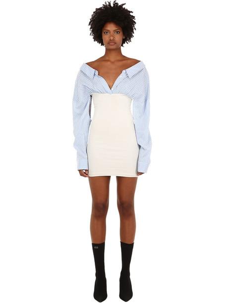 UNRAVEL Cotton & Silk Mini Shirt Dress in blue / white