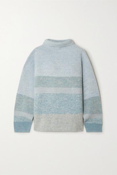 Le Kasha - Kinsale Striped Cashmere Turtleneck Sweater - Light green