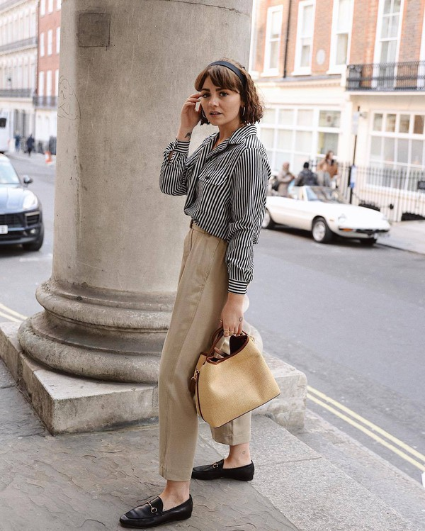 pants high waisted pants black loafers bag striped shirt casual