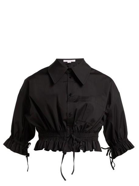 Carolina Herrera - Cropped Cotton Poplin Shirt - Womens - Black