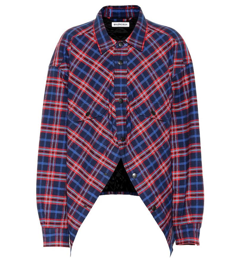 Balenciaga Swing checked cotton shirt in blue