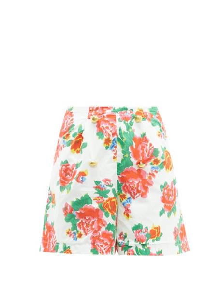 Rhode - Reese High Rise Floral Print Cotton Voile Shorts - Womens - White Print