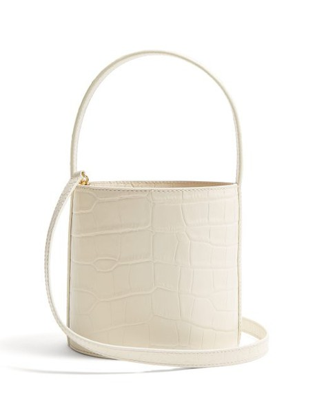 Staud - Bissett Crocodile Effect Leather Bucket Bag - Womens - Cream