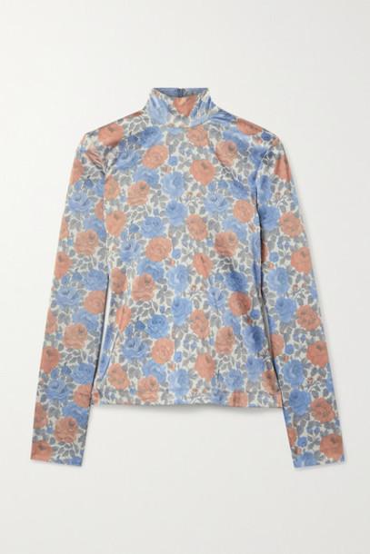 Marques' Almeida - Floral-print Satin-jersey Turtleneck Top - Gray