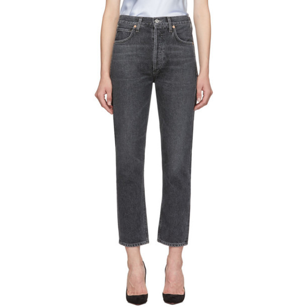 Citizens of Humanity Black Charlotte High-Rise Straight Jeans