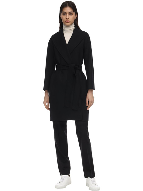 MAX MARA 'S Belted Virgin Wool Coat in black
