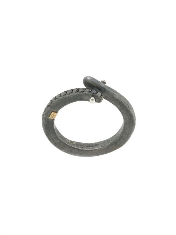 Rosa Maria embellished twist ring in silver