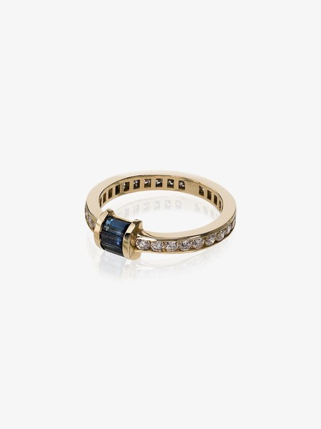 Retrouvai Gold, blue and white Sapphire and diamond ring