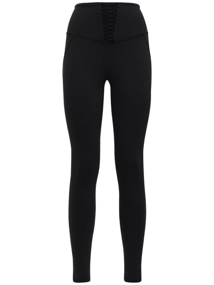 MICHI Nero Leggings W/ Lace Inserts in black