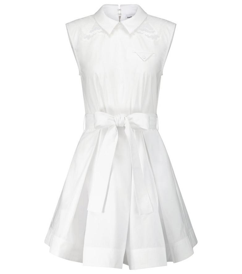 Self-Portrait Lace-trimmed cotton poplin minidress in white