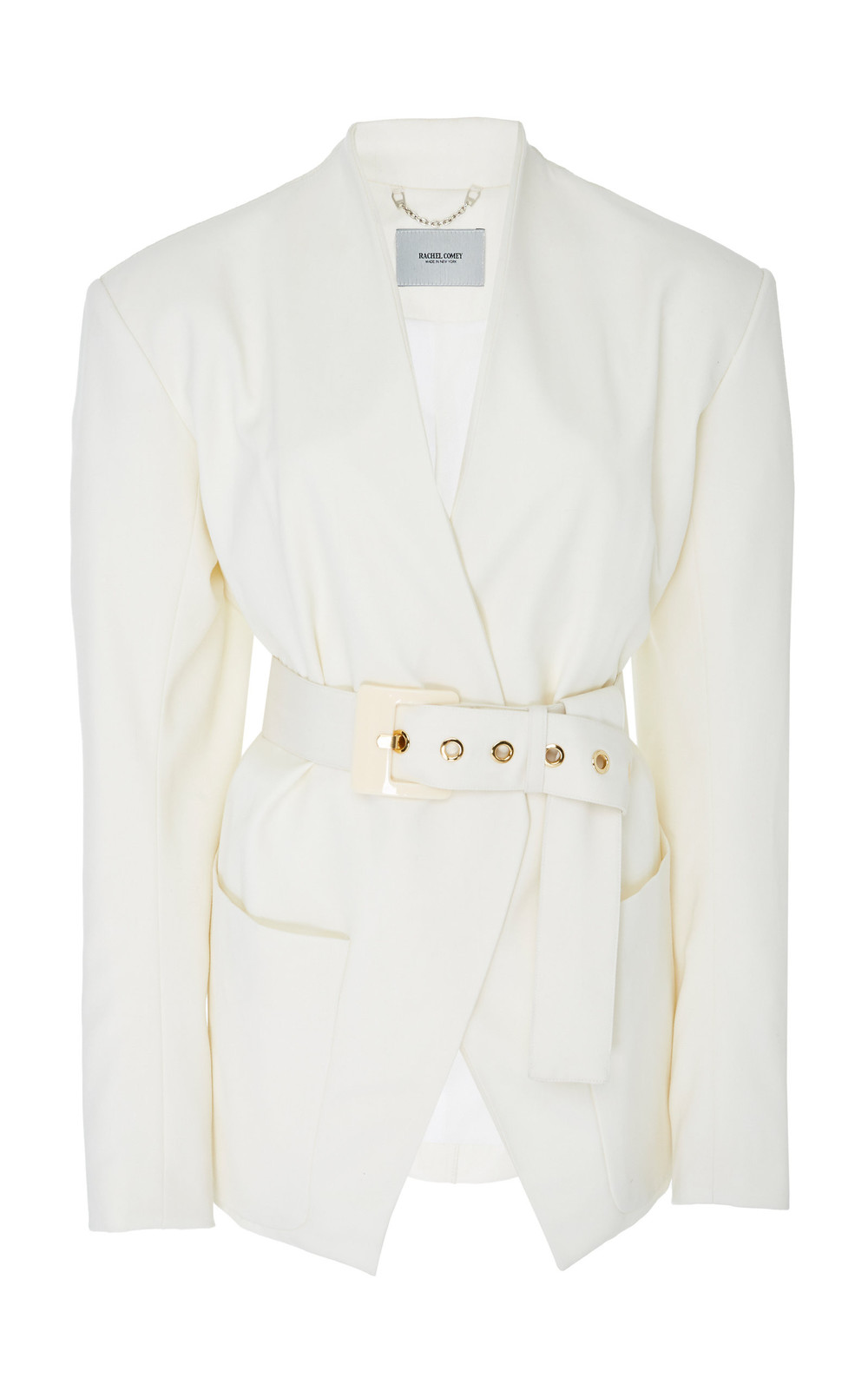 Rachel Comey Clinch Belted Wool-Crepe Jacket in white