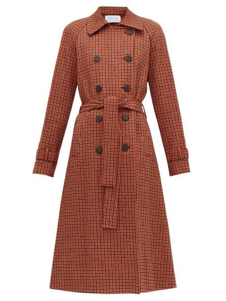 Harris Wharf London - Gunclub Check Cotton Blend Twill Trench Coat - Womens - Red Multi
