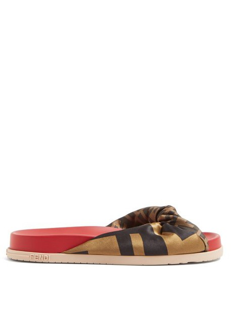 Fendi - Ff Print Knotted Slides - Womens - Red Multi