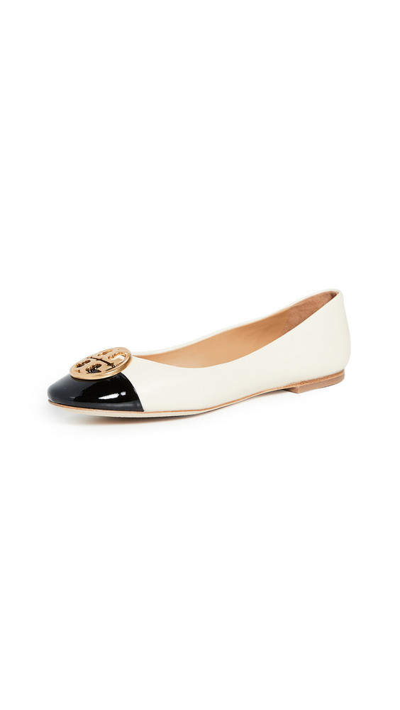 Tory Burch Chelsea Cap Toe Ballet Flats in black / cream