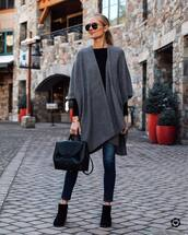 sweater,cardigan,black boots,ankle boots,skinny jeans,black bag,black top,knitted cardigan