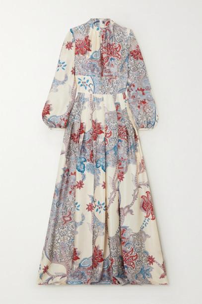 Raquel Diniz - Alma Printed Silk-satin Maxi Dress - Blue