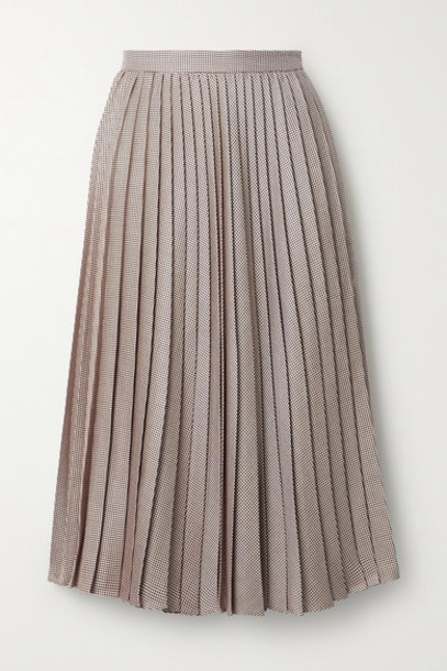 Adam Lippes - Pleated Houndstooth Silk And Wool-blend Skirt - Beige