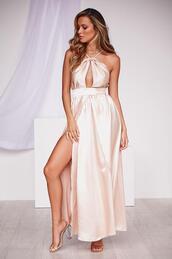 dress,champagne colour,maxi dress,thigh high split,cut-out,formal dress,prom dress