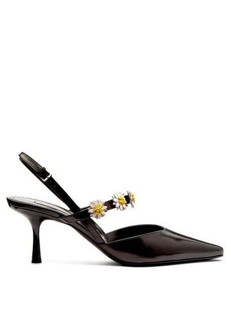 Fabrizio Viti - Bea Daisy Embellished Leather Slingback Pumps - Womens - Black White