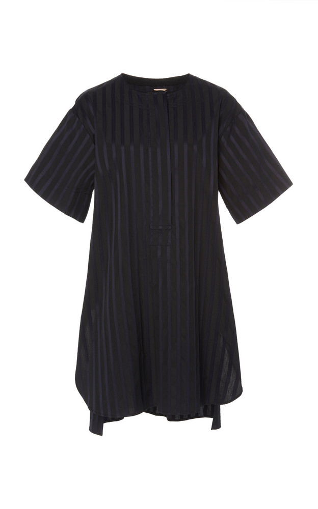 Adam Lippes Striped Cotton Tunic in black