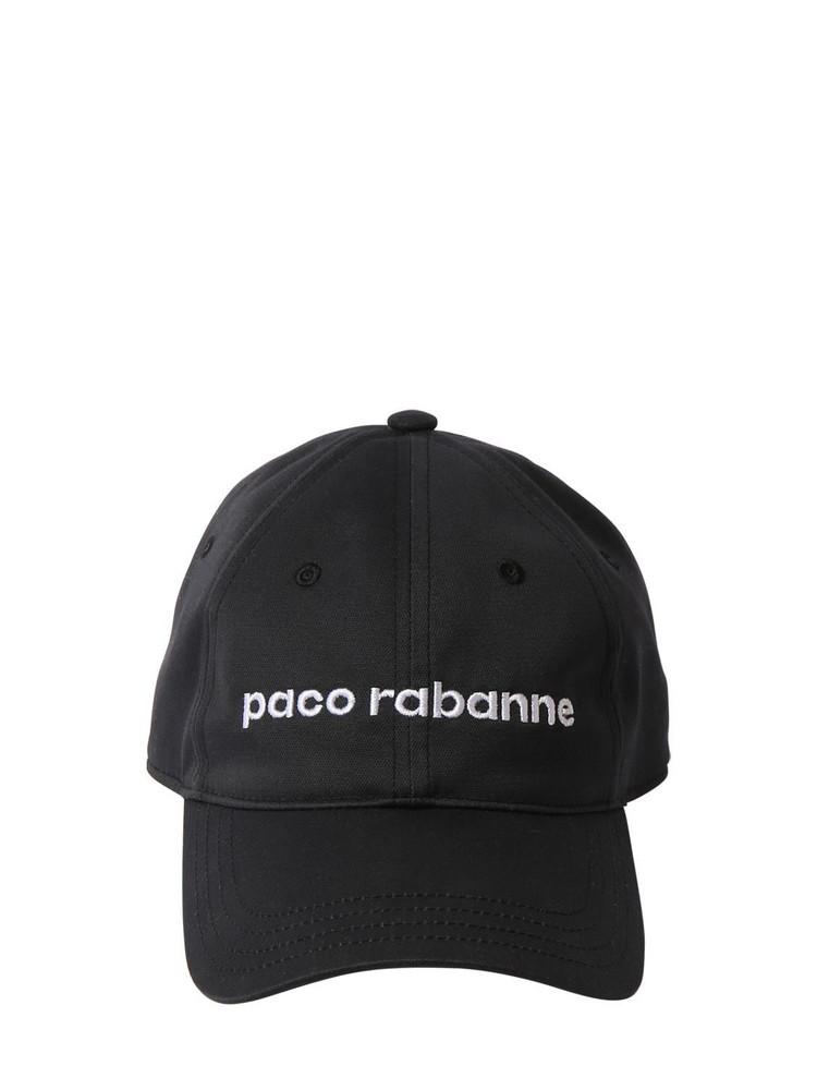 PACO RABANNE Logo Cotton Hat in black