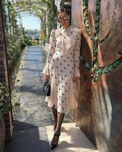 shoes,mules,tights,midi dress,long sleeve dress,ruffle dress,black bag