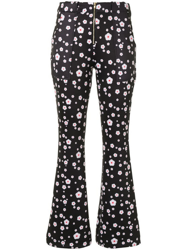 Cynthia Rowley Hunter floral-print flared trousers in black