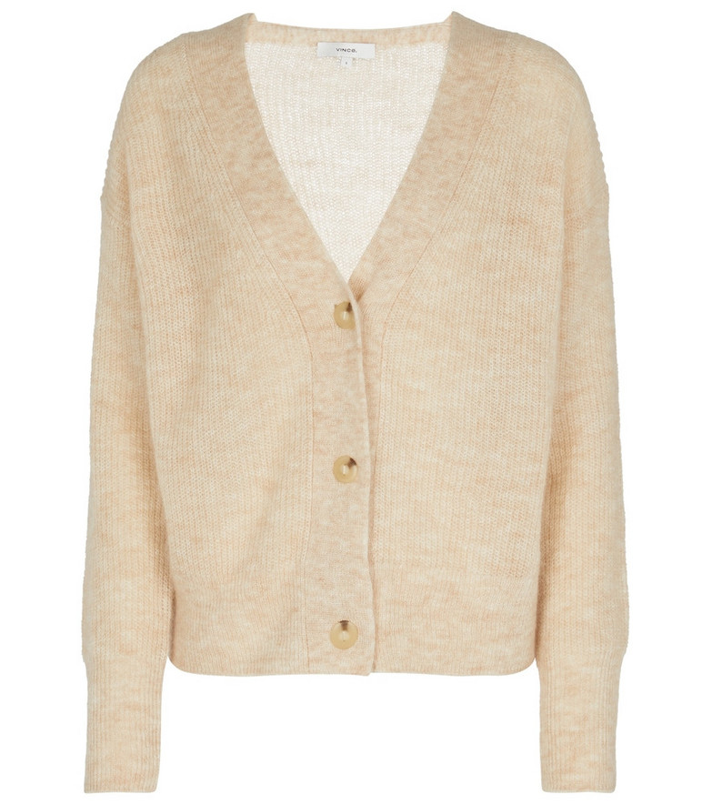 Vince Ribbed-knit mohair-blend cardigan in beige