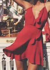 dress,red summerdress,v neck dress,short dress