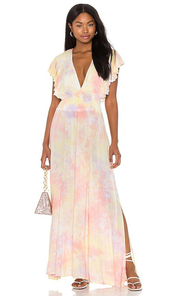 Tiare Hawaii Dahlia Maxi Dress in Lavender,Pink in violet / yellow