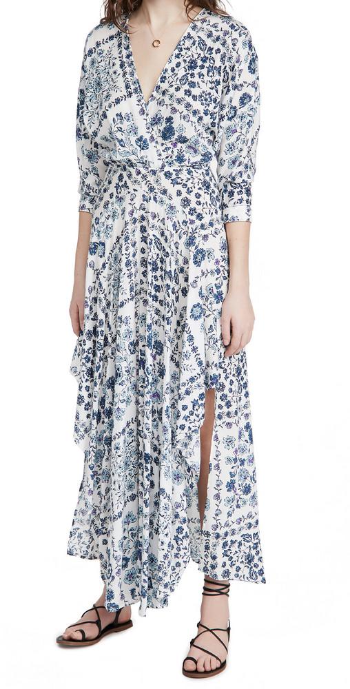 Poupette St Barth Long Ilona Flounce Dress in blue / white