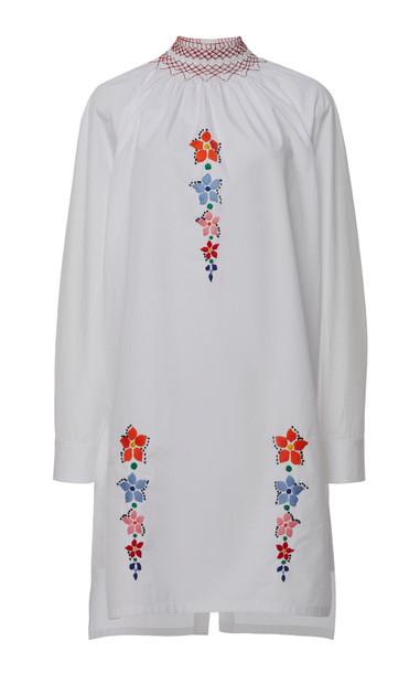 Prada Smocked Floral Cotton Tunic in white