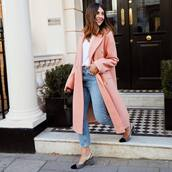 coat,pink coat,long coat,topshop,slingbacks,high waisted jeans,skinny jeans,white top,jeans,double breasted,white t-shirt