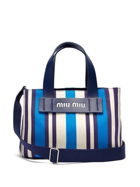 Miu Miu - Striped Canvas Beach Bag - Womens - Blue Multi