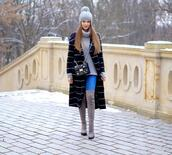 only my fashion style,blogger,coat,jeans,shoes,bag,beanie,over the knee boots,turtleneck sweater,winter outfits