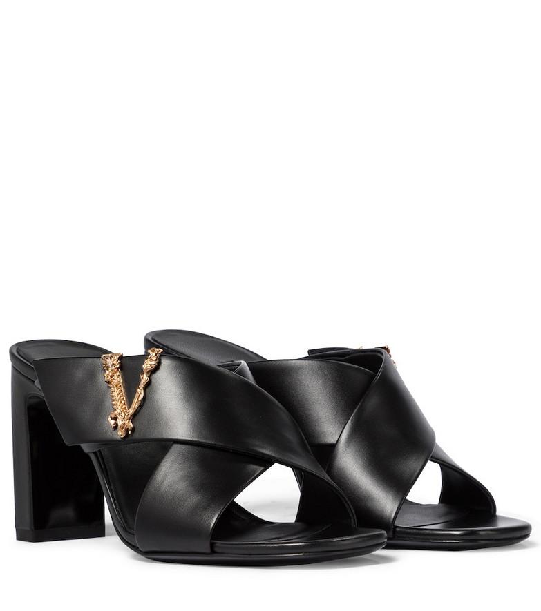 Versace Virtus leather sandals in black