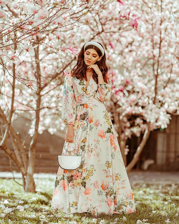 dress maxi dress floral dress white dress long sleeve dress v neck dress white bag handbag headband