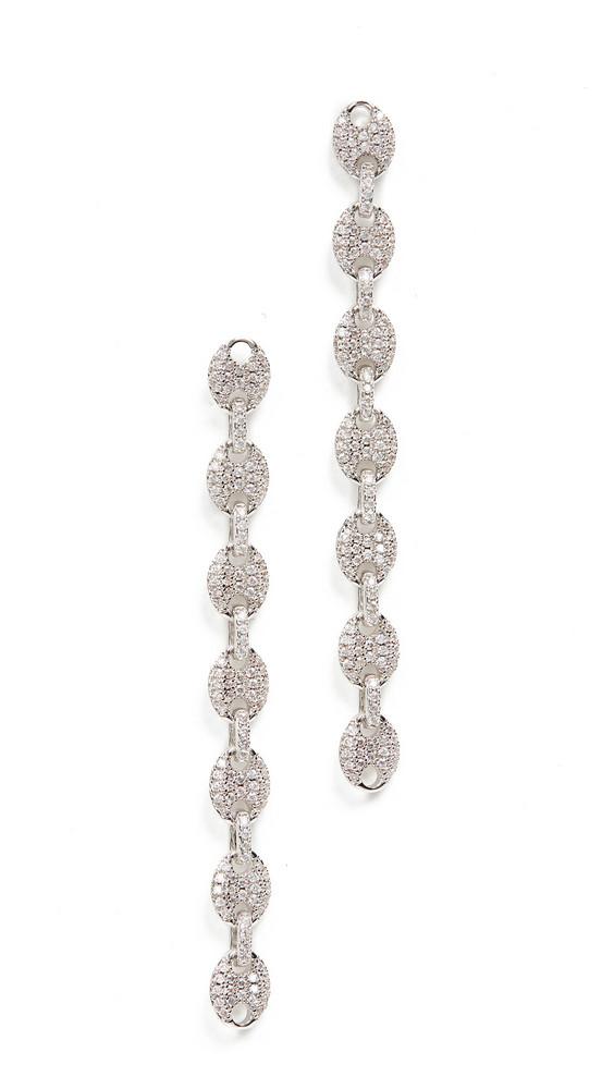 Luv Aj Pave Mariner Link Earrings in silver