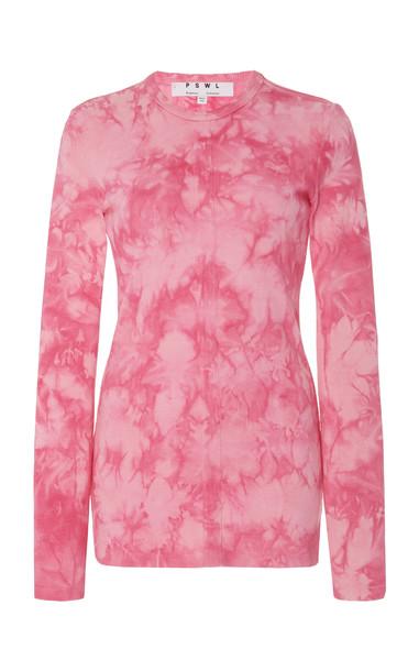 Proenza Schouler PSWL Tie-Dye Stretch-Cotton Sweatshirt in pink