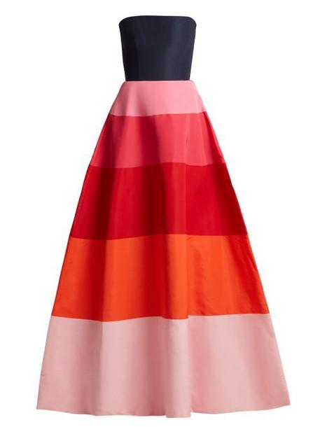 Carolina Herrera - Faille Strapless Gown - Womens - Navy Multi