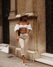top,white top,crop tops,off the shoulder top,high waisted pants,pumps,belt,shoulder bag,hat