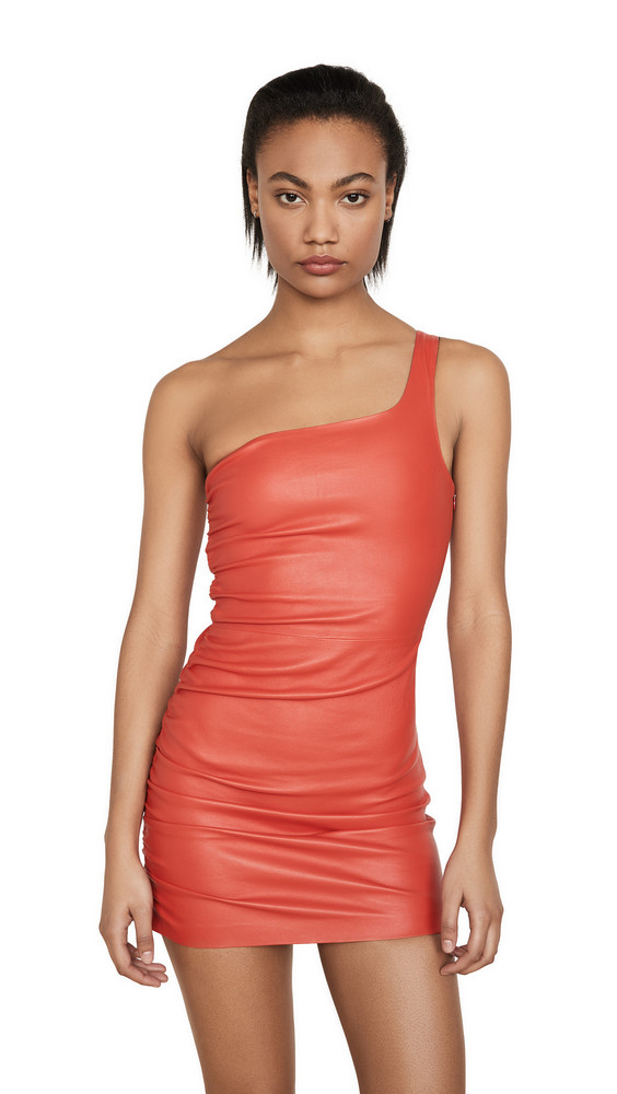 SPRWMN Shirred One Shoulder Dress in tomato