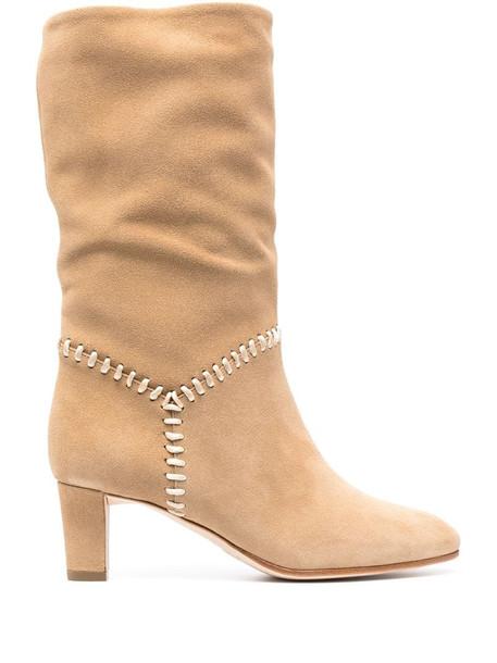 Alberta Ferretti contrast-stitch suede boots in neutrals