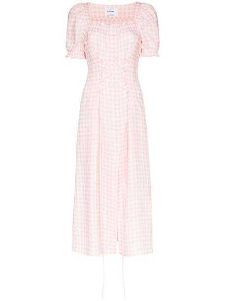Sleeper gingham midi dress in pink